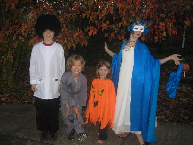 a mad scientist, a ninja/samurai, a pumpkin-king, and a masquerade ball lady