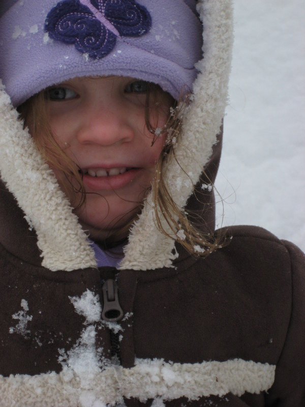 I didn't mean to hit her in the face with a snowball . . . her brother moved!